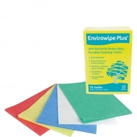 Maxima Envirowipe Plus Cleaning Cloth Anti-Bacterial Washable Green Ref 0707014 [Pack 25]
