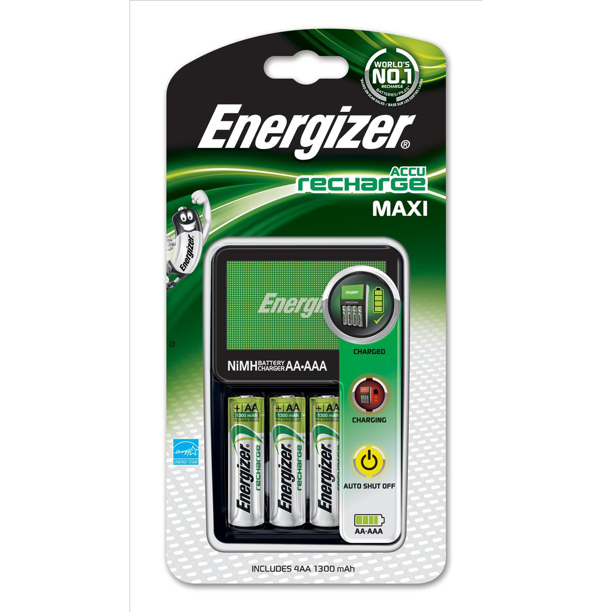 Image for Energizer 1300 Maxi Battery Charger CHVCM4 for AA AAA with 4x AA 2000mAh Batteries Ref 632325