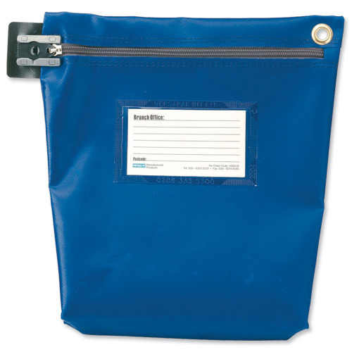 Versapak Cash Bag Tamper-Evident Zip Heavyweight Material Medium W267xD50xH267mm Blue Ref CCB1-BLS