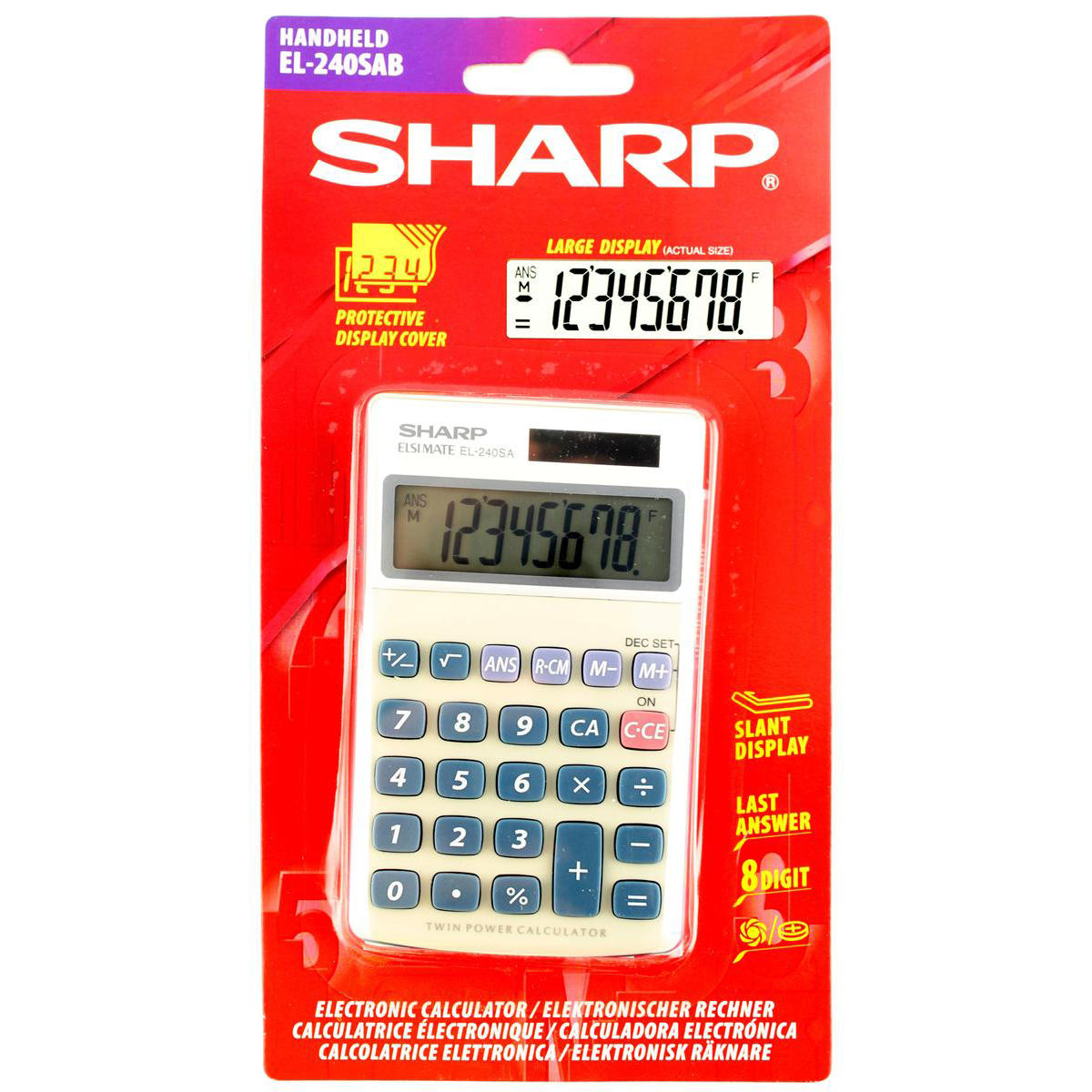 Image for Sharp Handheld Calculator 8 Digit 3 Key Memory Solar and Battery Power 71x17x116mm Silver Ref EL240SAB