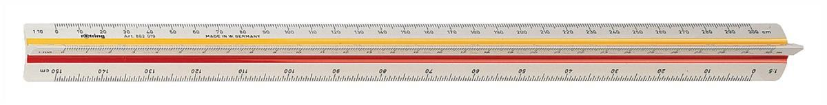 Rotring Ruler Triangular Reduction Scale9 Mechanical 1-10 to 1-500 2 Coloured Flutings Code S0237031