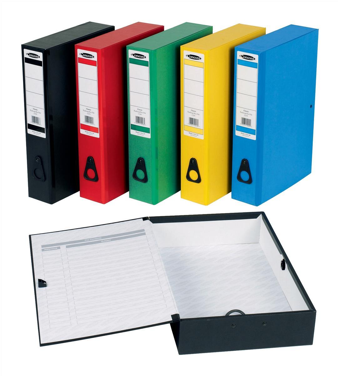 Concord Classic Box File Paper-Lock Finger-Pull And Catch 75mm Spine Foolscap Assorted Code C1289