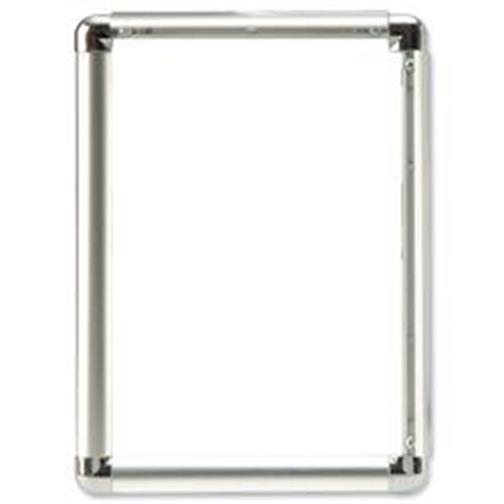 5 Star Facilities Clip Display Frame Aluminium with Fixings Front-loading A2 420x13x594mm Silver