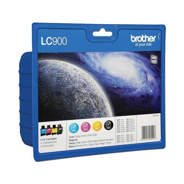 Brother LC-900 Black/Cyan/Magenta/Yellow Inkjet Cartridge (Pack of 4) LC900VALBPRF