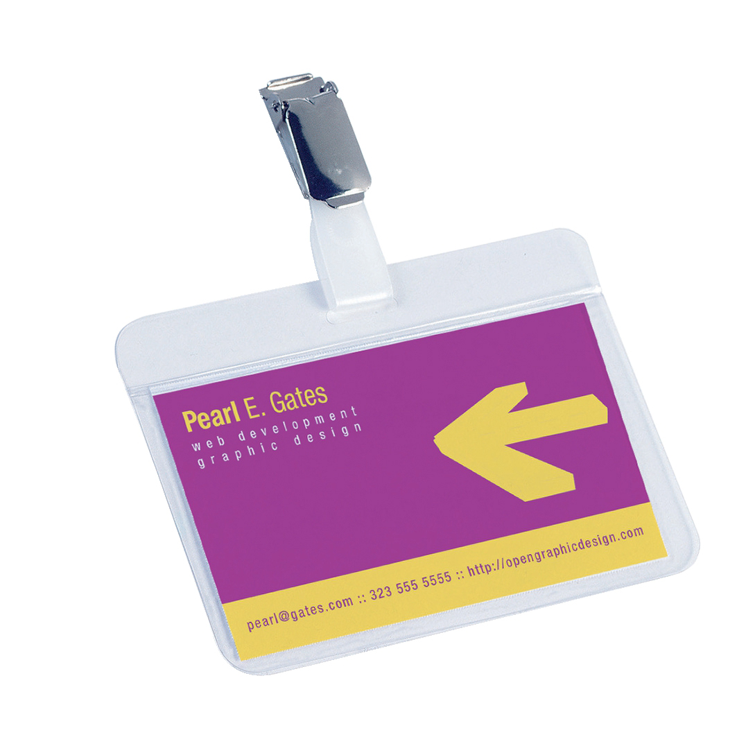 Durable Name Badges Self Laminating Self Adhesive W90xH54mm Transparent Ref 8102 [Pack 25]