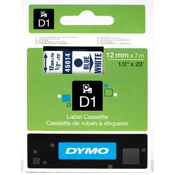 Dymo D1 Tape for Electronic Labelmakers 12mmx7m Blue on White Ref 45014 S0720540