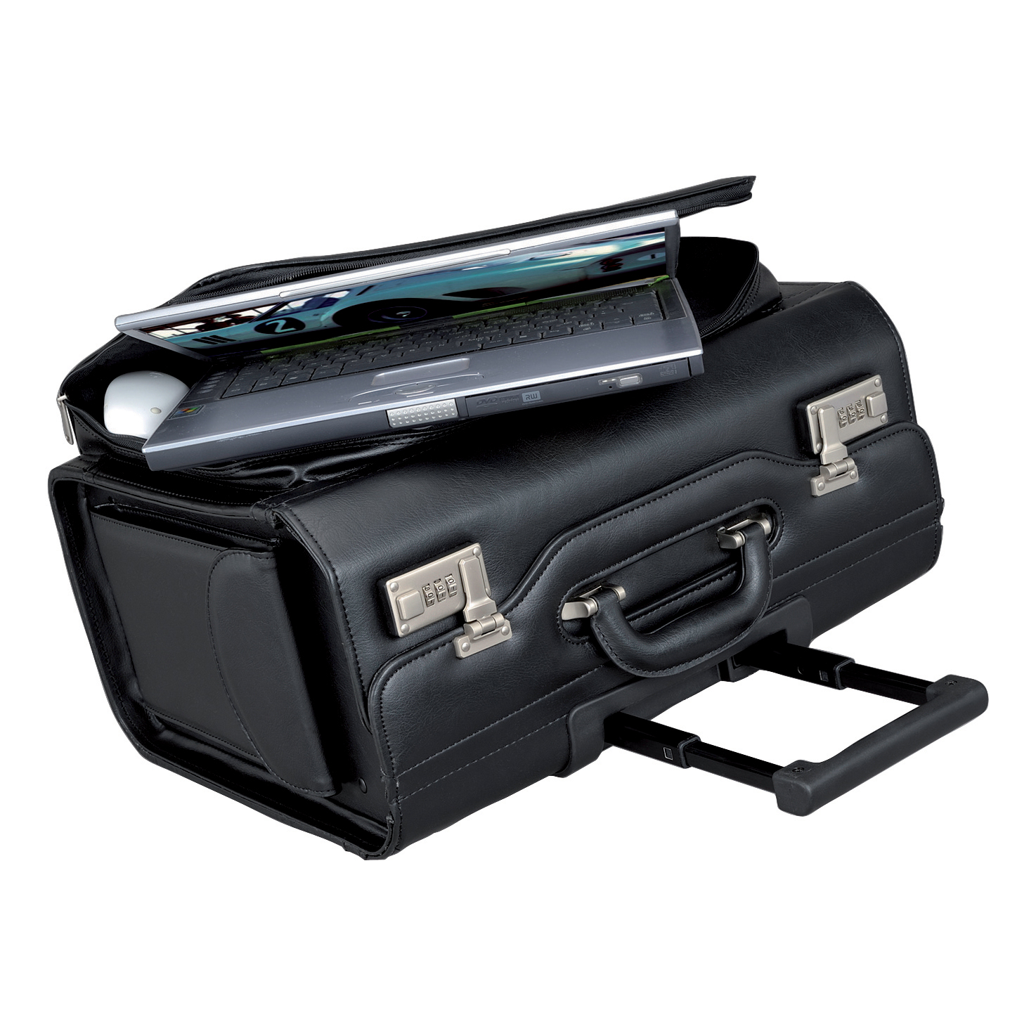 b77f6017dae Alassio San Remo Trolley Pilot Case Multi-section 2 Combination Locks  Leather-look Black Ref 45030 - 5 Star Office Supplies UK