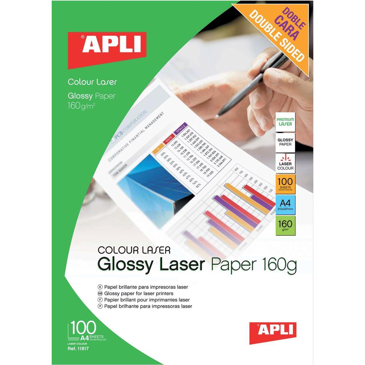 Apli Laser Paper Glossy Double-sided 160gsm A4 Ref 11817 [100 Sheets]