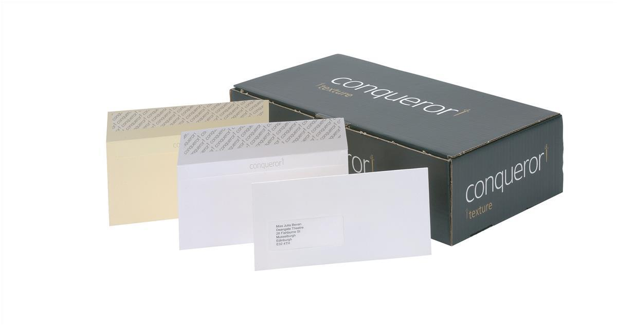 Conqueror Envelopes Wallet Peel and Seal Laid High White DL Ref CDE1440HW [Pack 500]