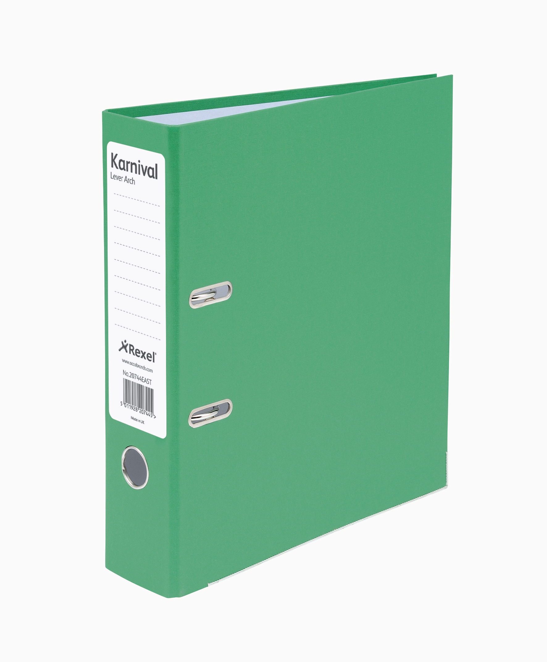 Eastlight Karnival Lever Arch File Paper over Board Slotted 70mm A4 Green Code 20744EAST