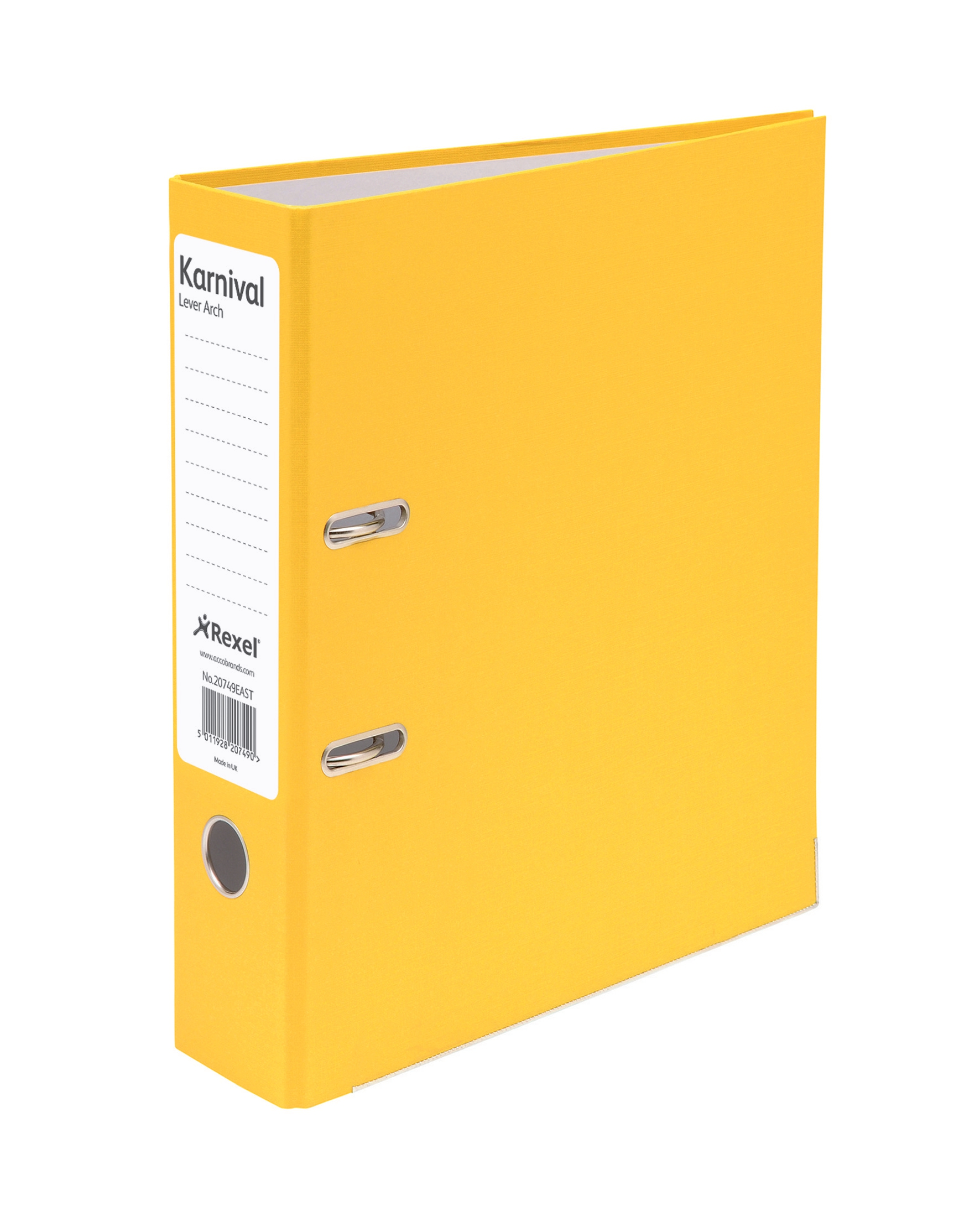 Eastlight Karnival Lever Arch File Paper over Board Slotted 70mm A4 Yellow Code 20749EAST