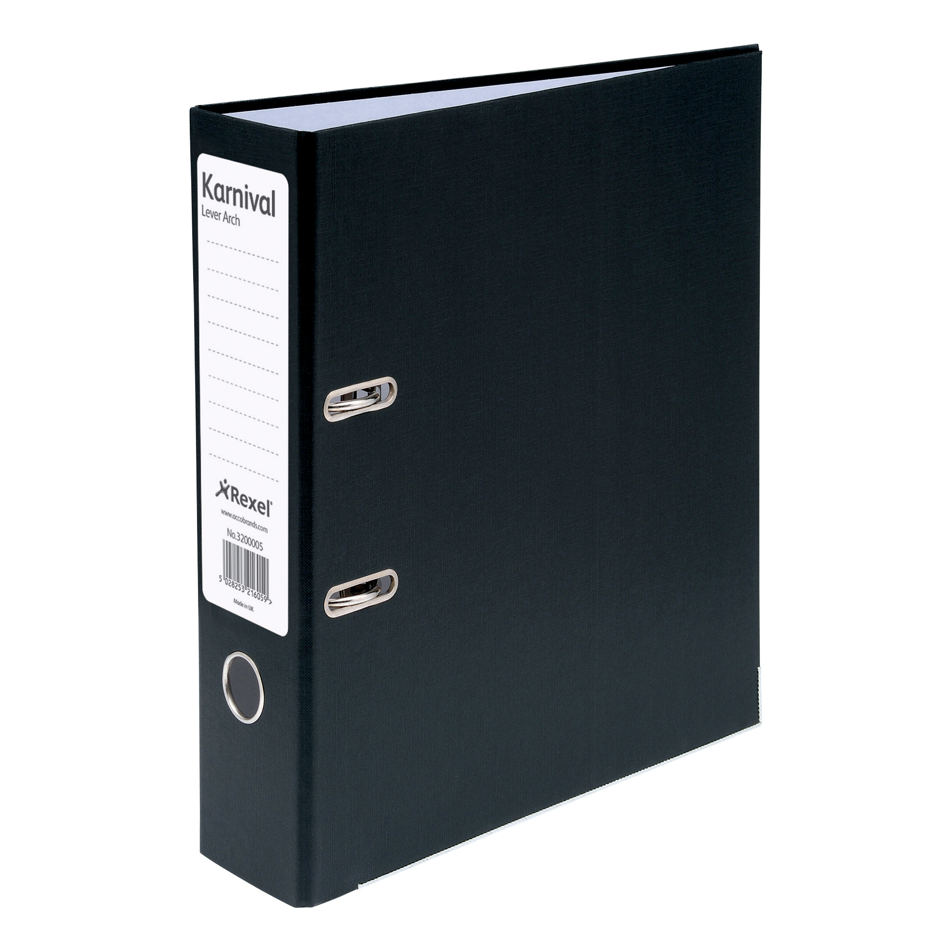 Rexel Karnival Lever Arch File Paper over Board Slotted 70mm A4 Black Ref 3200005 [Pack 10]