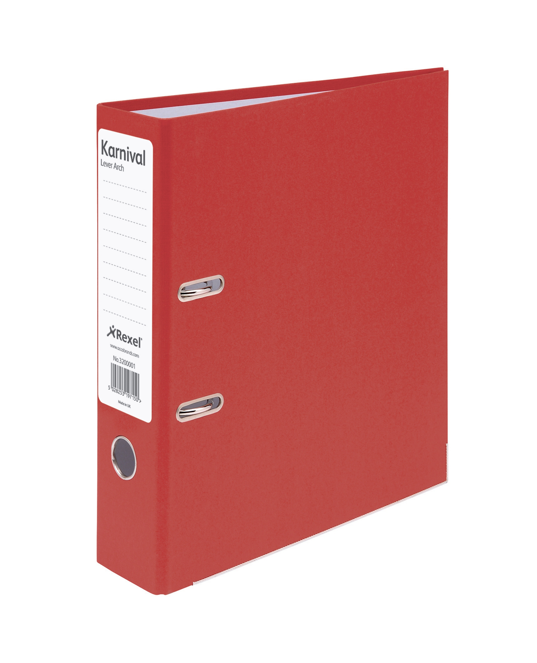 Rexel Karnival Lever Arch File Paper over Board Slotted 70mm A4 Red