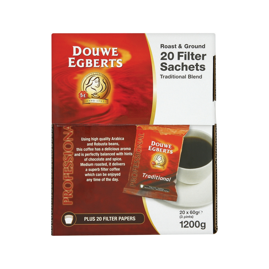 Douwe Egberts Filter Coffee 60g Sachet with Filter (Pack of 20) 330260