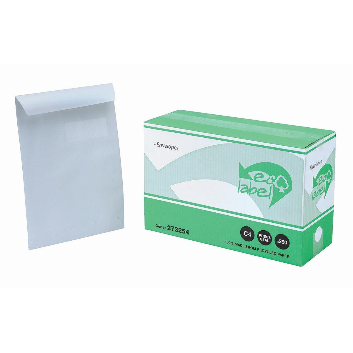 5 Star Eco Envelopes Recycled Pocket Self Seal Window 90gsm C4 324x229mm White [Pack 250]