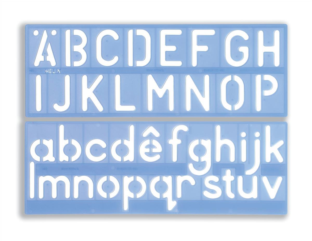 Stencil Set of Letters Numbers and £/p Symbols 50mm Upper And Lower Case 4-piece