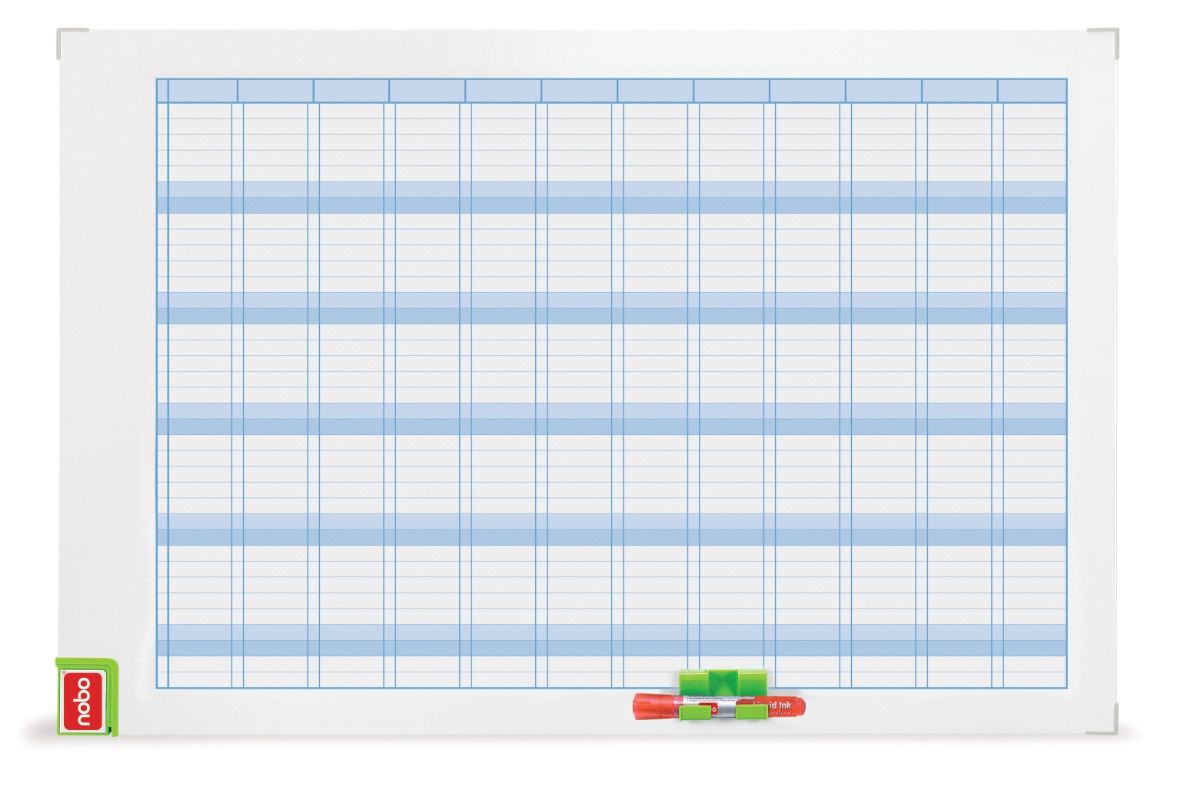 Nobo Performance Planning Board Annual Grid Magnetic Drywipe 900x600mm Code 3048001