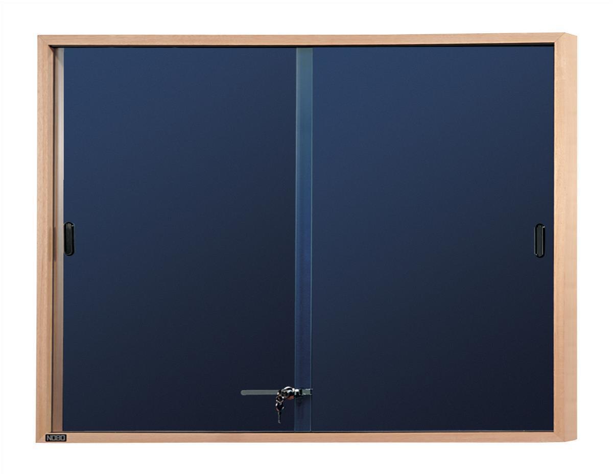 Nobo Wood Frame Glazed Sliding Door Wall Mounted Slimline Showcase Blue 1000x825mm Code 32632503