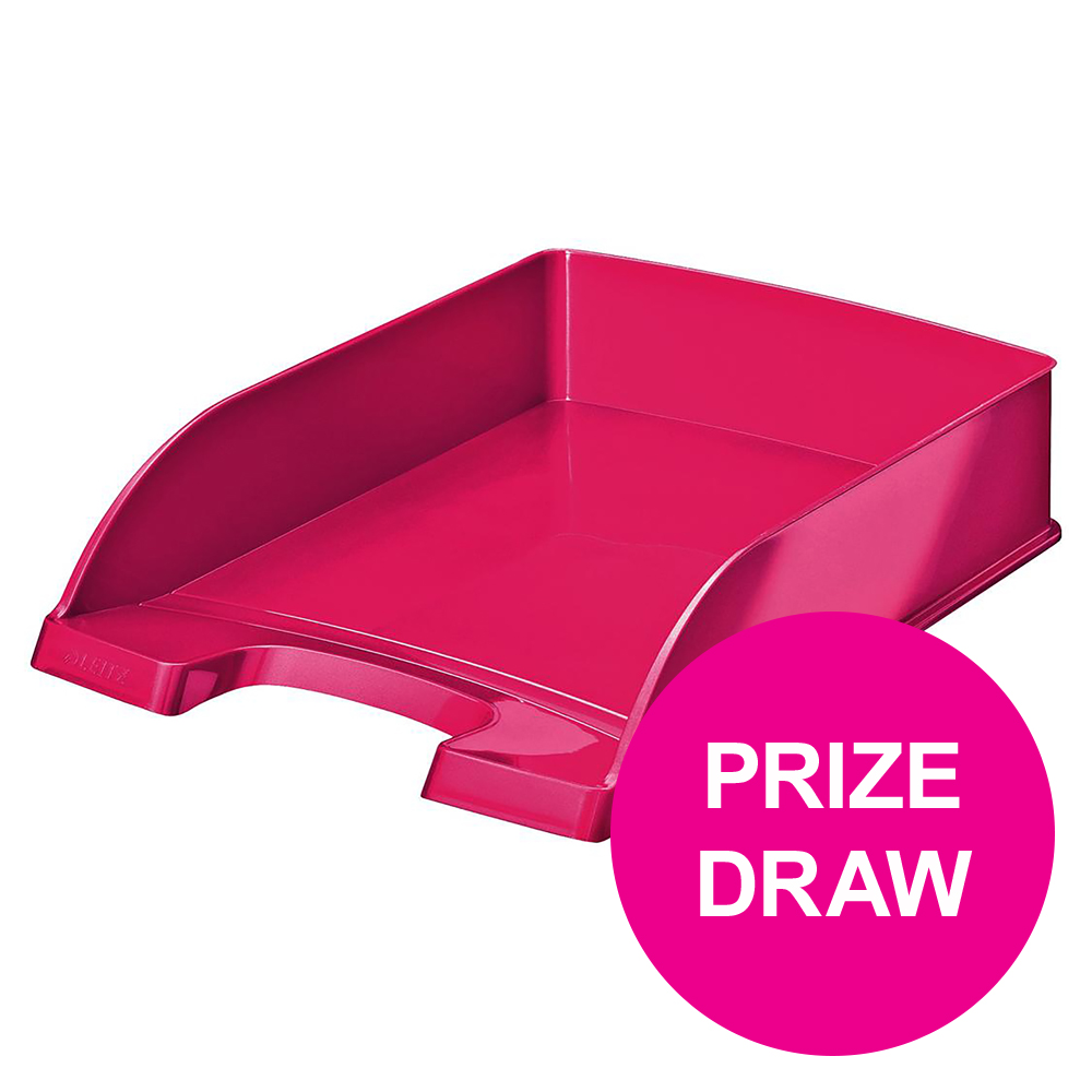 Leitz Bright Letter Tray Stackable Glossy Metallic Pink Ref 52263023 [COMPETITION]