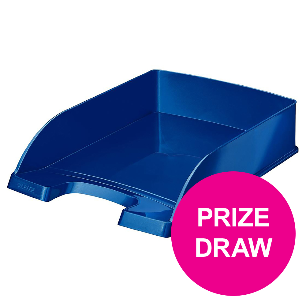 Leitz Bright Letter Tray Stackable Glossy Metallic Blue Ref 52263036 [COMPETITION]