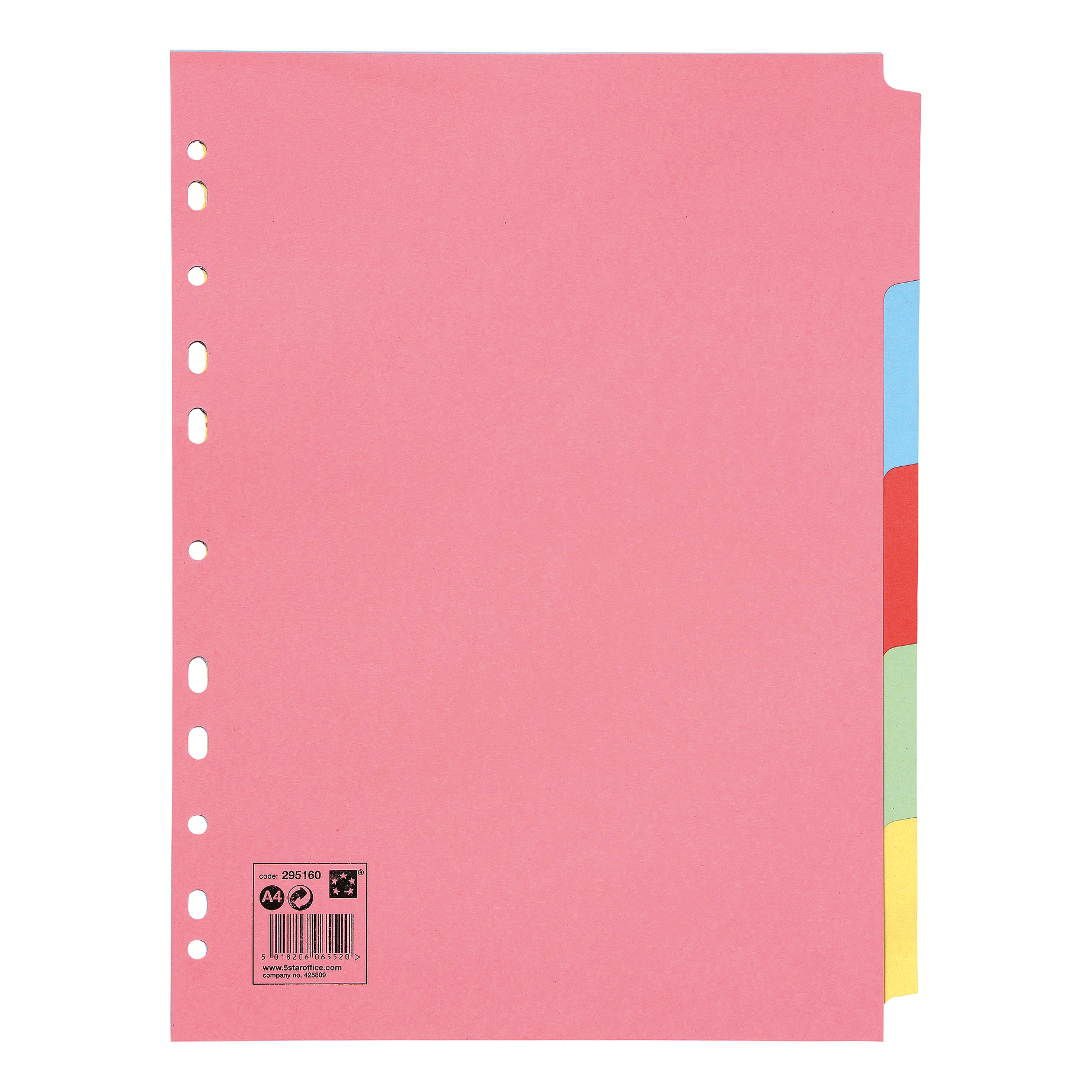 5 Star Office Subject Dividers Multipunched Manilla Board 5-Part A4 Assorted