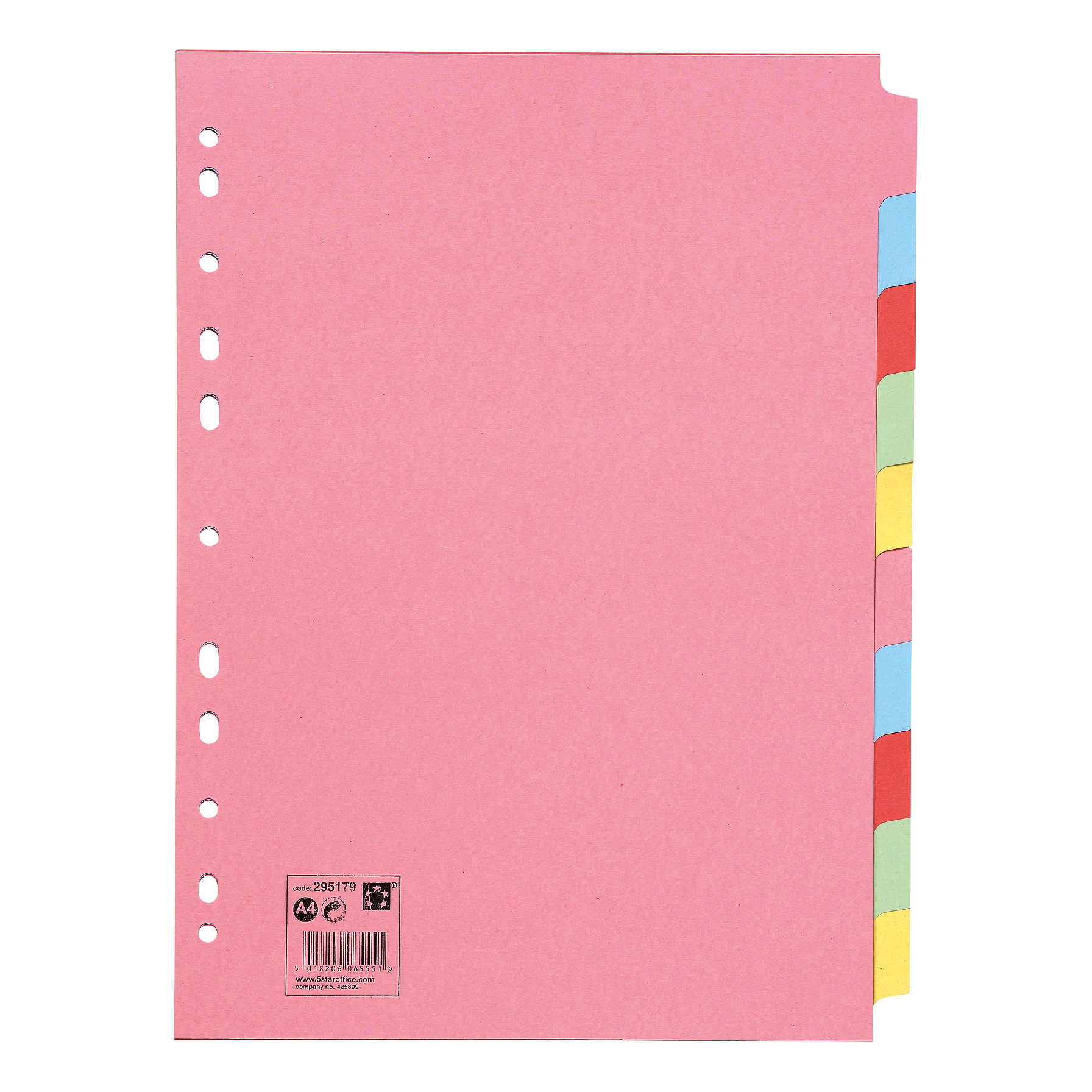 5 Star Office Subject Dividers Multipunched Manilla Card 10-Part A4 Assorted
