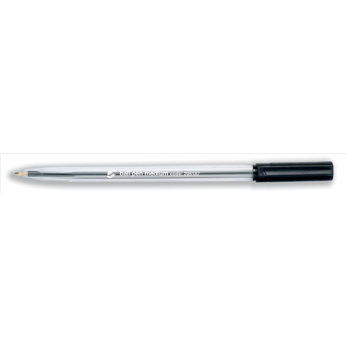5 Star Office Ball Pen Clear Barrel Medium 1.0mm Tip 0.7mm Line Black [Pack 50]