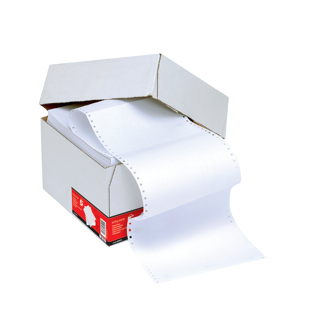 5 Star Office Listing Paper 1-Part Microperforated 1500 Sheets per Box 90gsm A4 Plain 1 Box