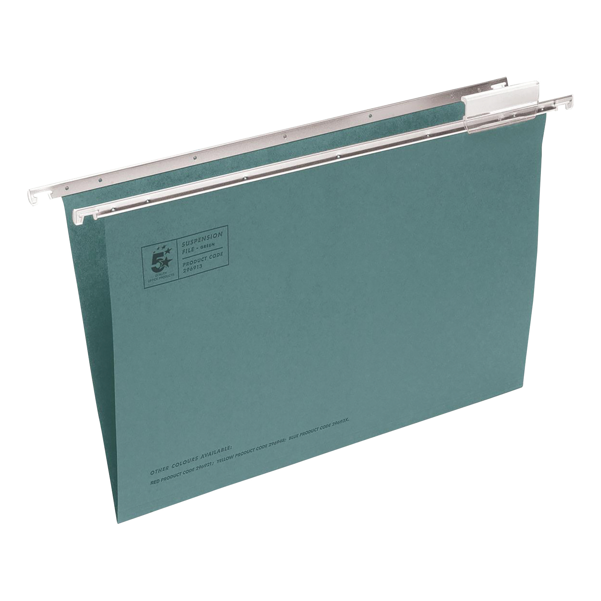 5 Star Office Suspension File with Tabs and Inserts Manilla 15mm V-base 180gsm Foolscap Green [Pack 50]