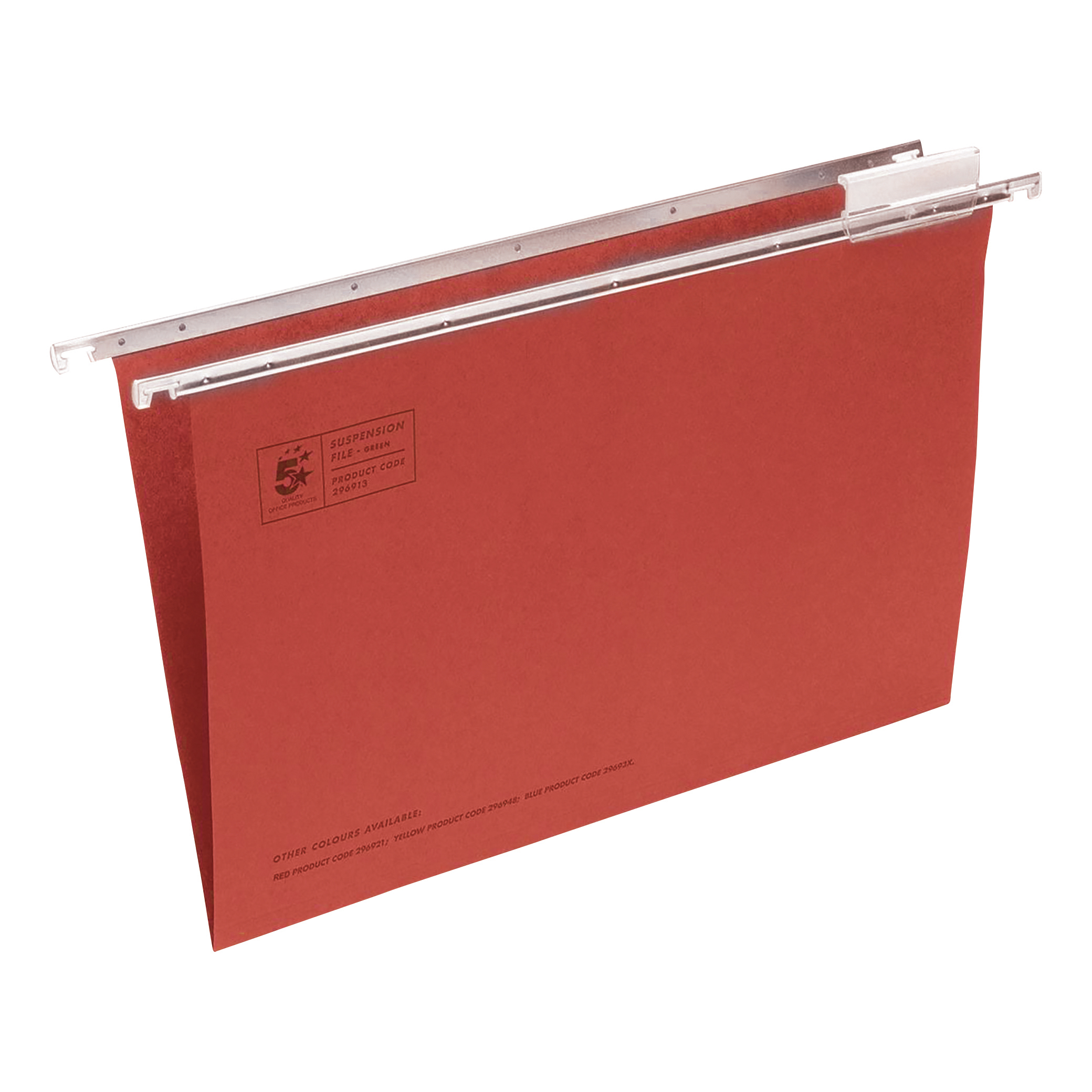 5 Star Office Suspension File with Tabs and Inserts Manilla 15mm V-base 180gsm Foolscap Red [Pack 50]