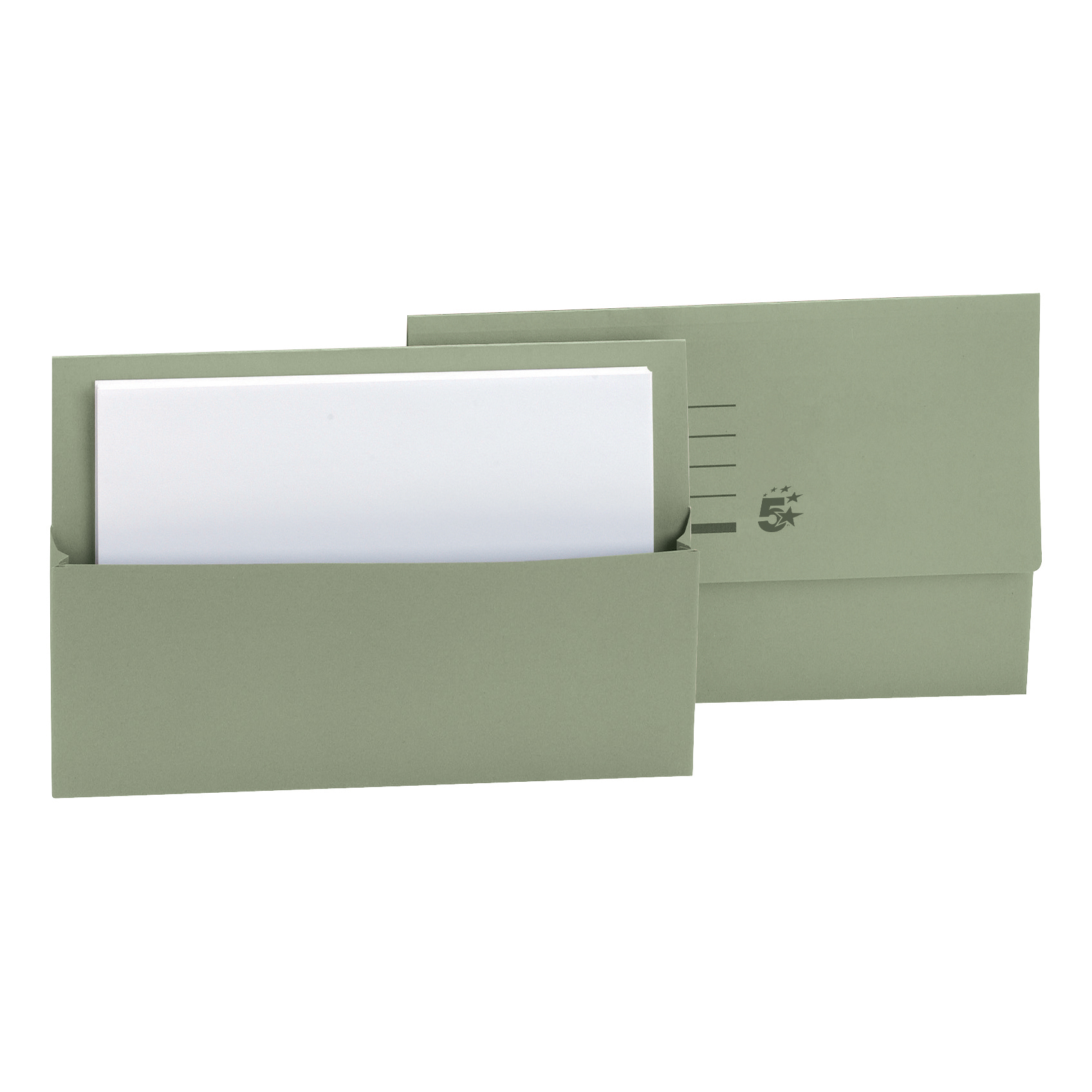 5 Star Office Document Wallet Half Flap 250gsm Recycled Capacity 32mm Foolscap Green [Pack 50]