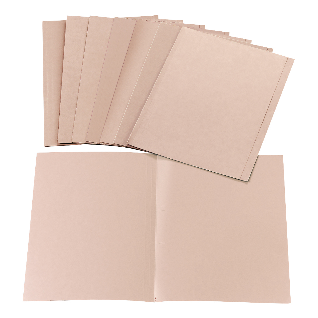 5 Star Office Square Cut Folder Recycled Pre-punched 170gsm Kraft Foolscap Buff [Pack 100]