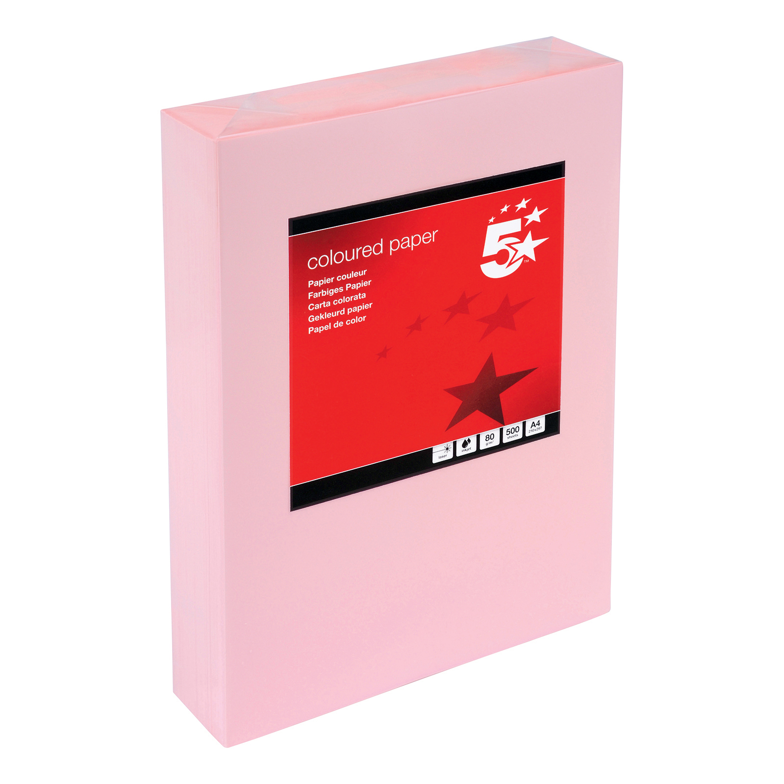 5 Star Office Coloured Copier Paper Multifunctional Ream-Wrapped 80gsm A4 Pink [500 Sheets]