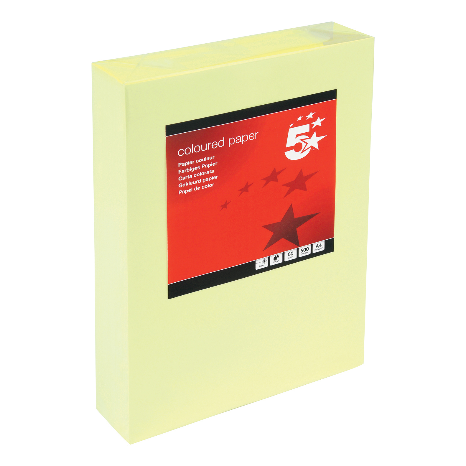 5 Star Office Coloured Copier Paper Multifunctional 80gsm 500 Sheets per Ream A4 Yellow 1 Ream