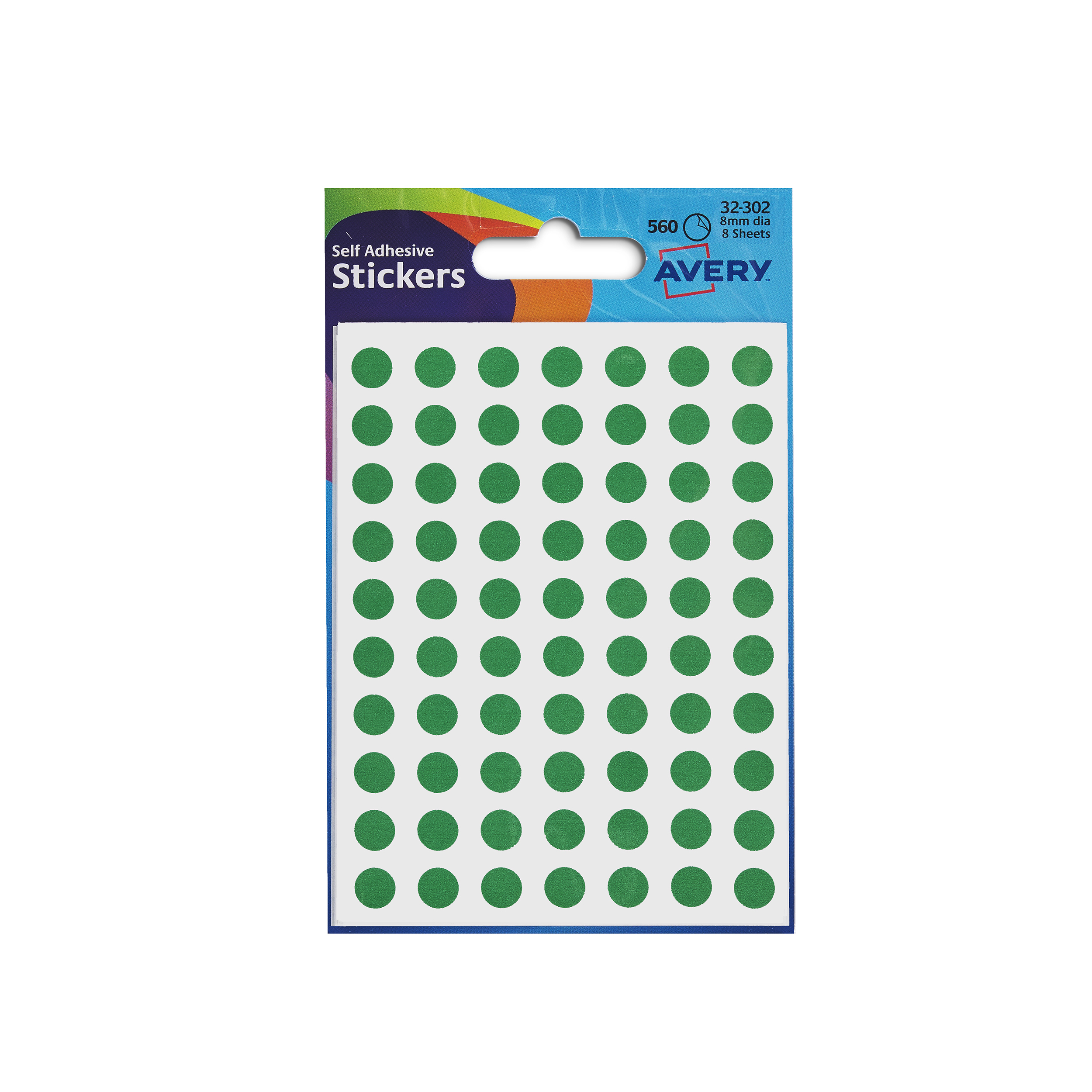 Avery Packets of Labels Diam.8mm Green Ref 32-302 [10x520 Labels]