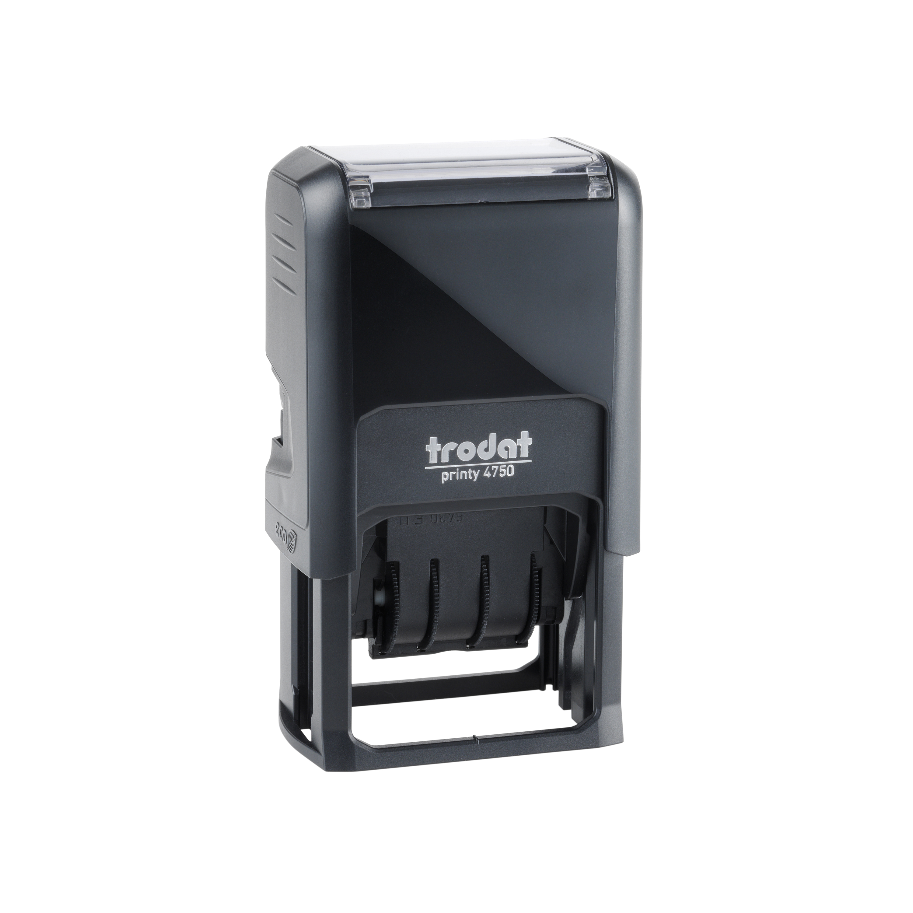 Trodat EcoPrinty 4750 Stamp Self-Inking Word and Date Stamp - Checked - 40x24mm Red and Blue Ref 141386