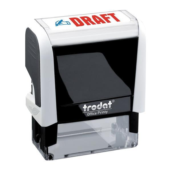 Trodat Office Printy Self Inking Text Stamp DRAFT 46x18mm Red/Blue