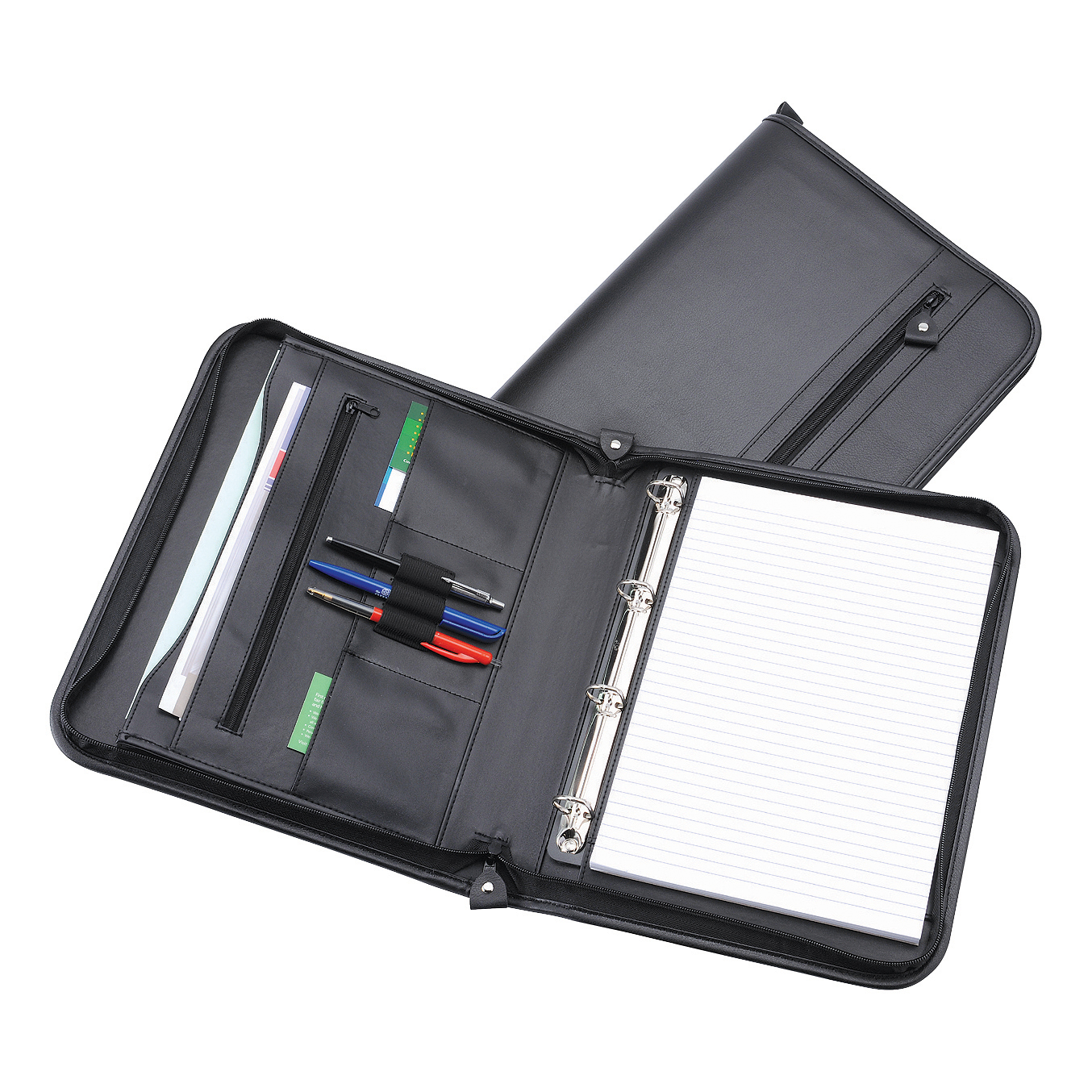 Zipped Folder with Ring Binder 4 Ring Capacity 20mm A4 Leather Look Black