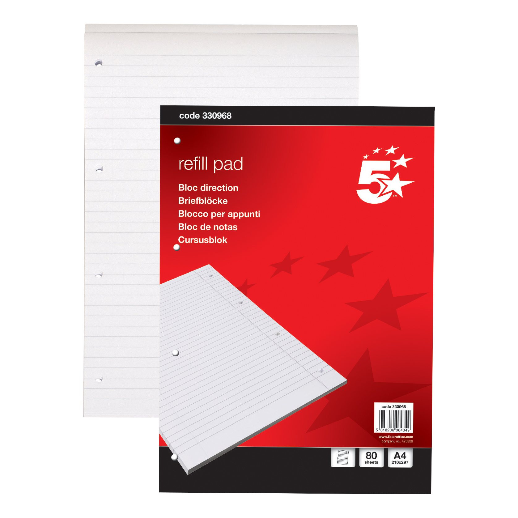 5 Star Office Refill Pad Feint Headbound Ruled with Margin 4-Hole Punched 80 Sheets A4 [Pack 10]