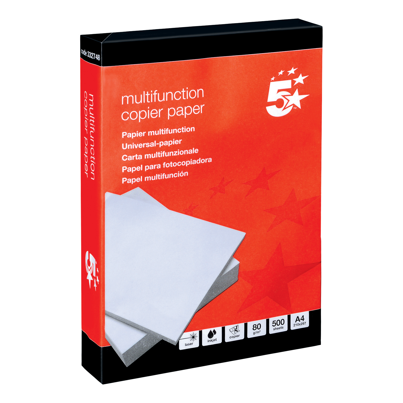 5 Star Office Copier Paper Multifunctional 80gsm 500 Sheets per Ream A4 White 1 Ream