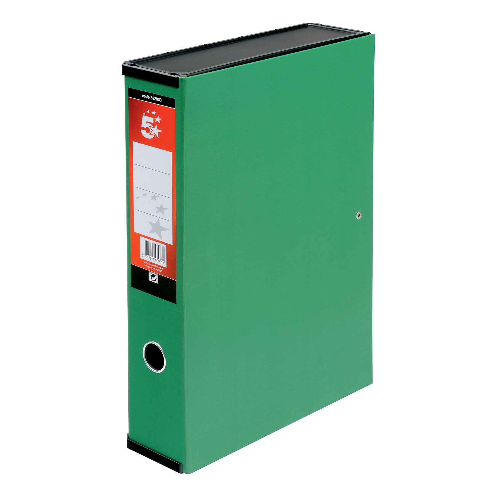 5 Star Office Box File Lock Spring with Push Button Closure 70mm Capacity Foolscap Green [Pack 5]