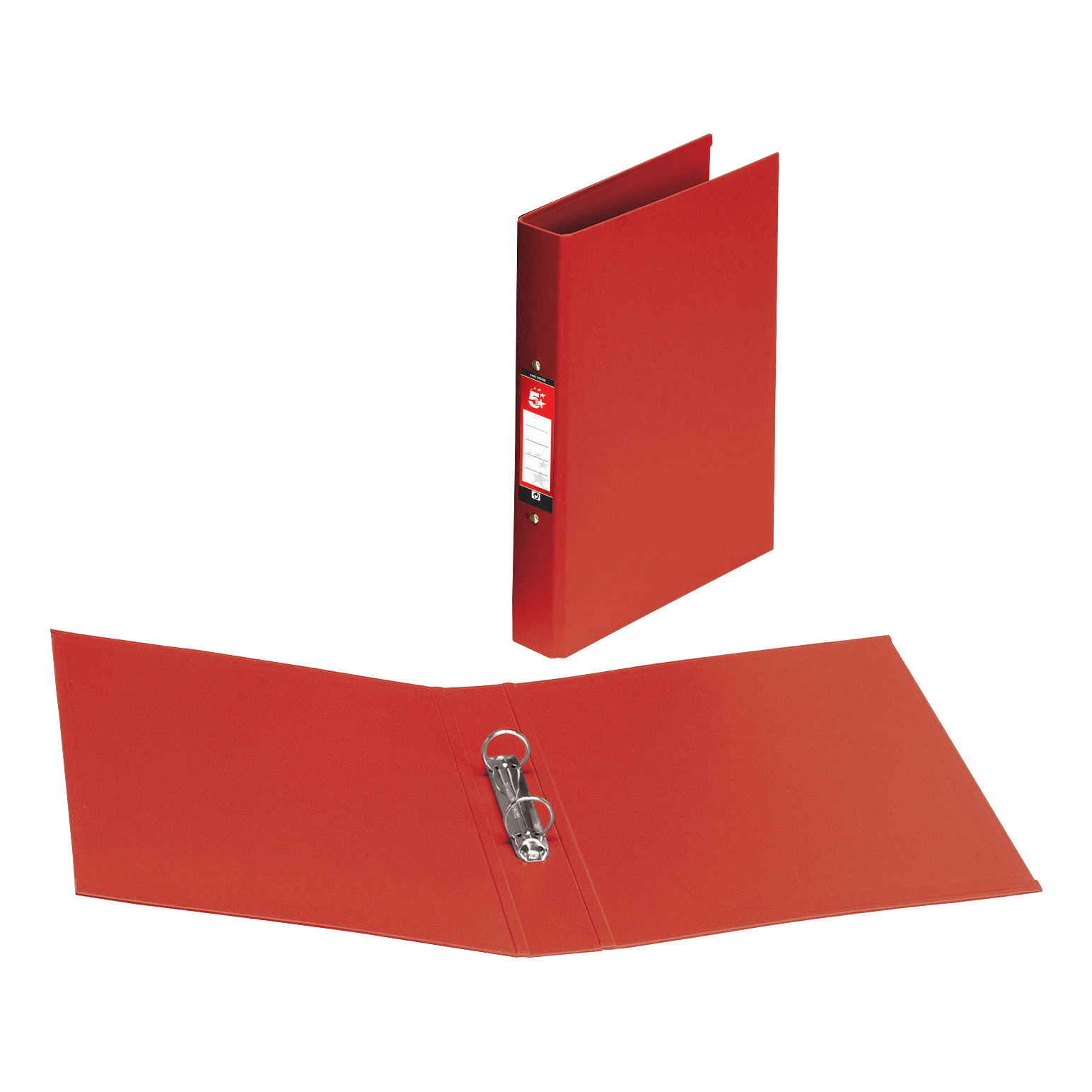 5 Star Premier Ring Binder PVC 2 O-Ring Size 25mm A4 Red
