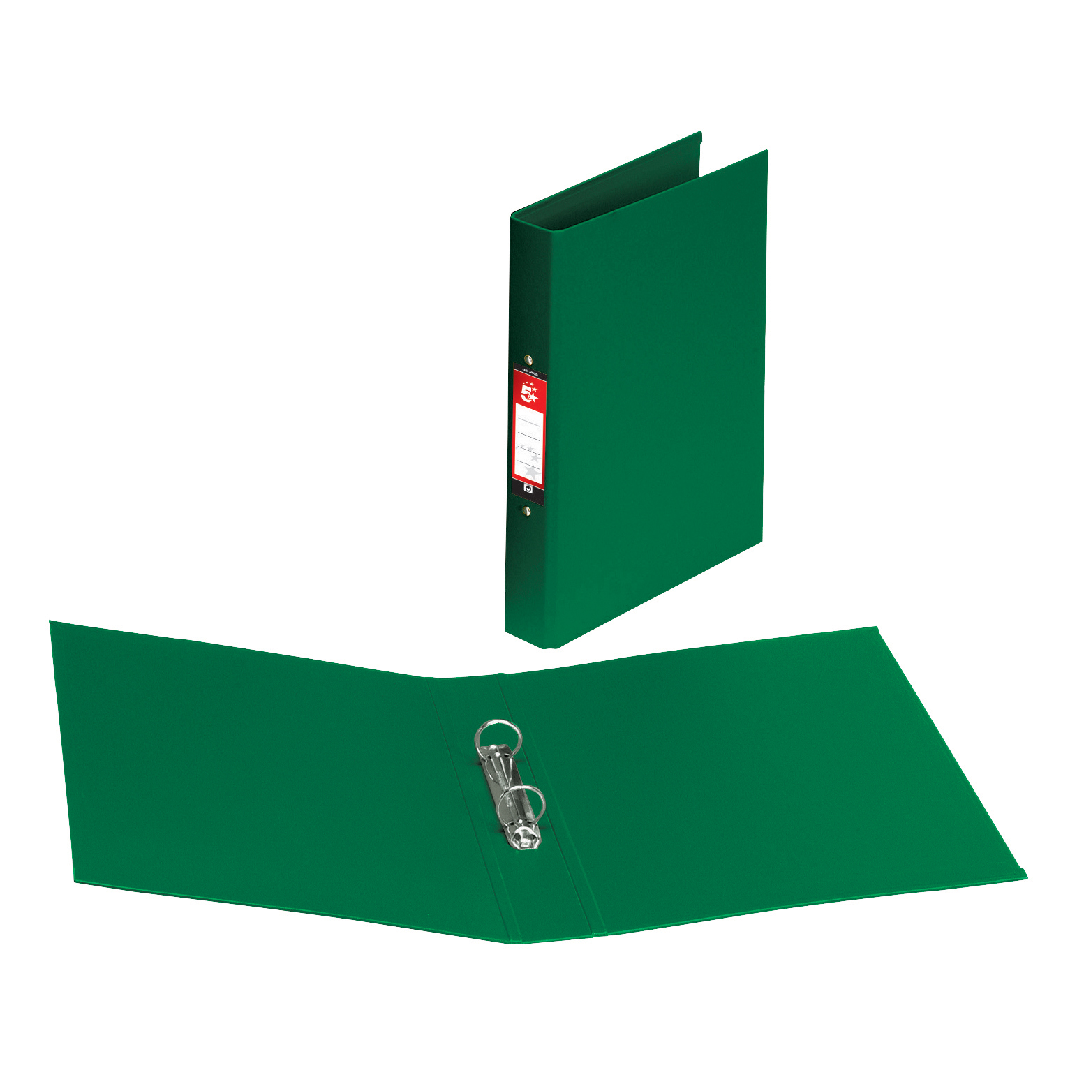 5 Star Office Ring Binder 2 O-Ring Size 25mm Polypropylene A4 Green [Pack 10]