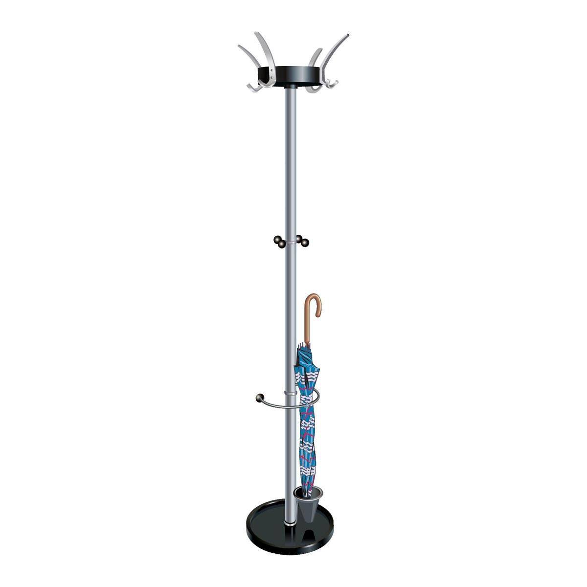 5 Star Facilities Coat Stand with Umbrella Holder 4 Pegs 4 Hooks Base 380mm Height 1800mm Black/Steel