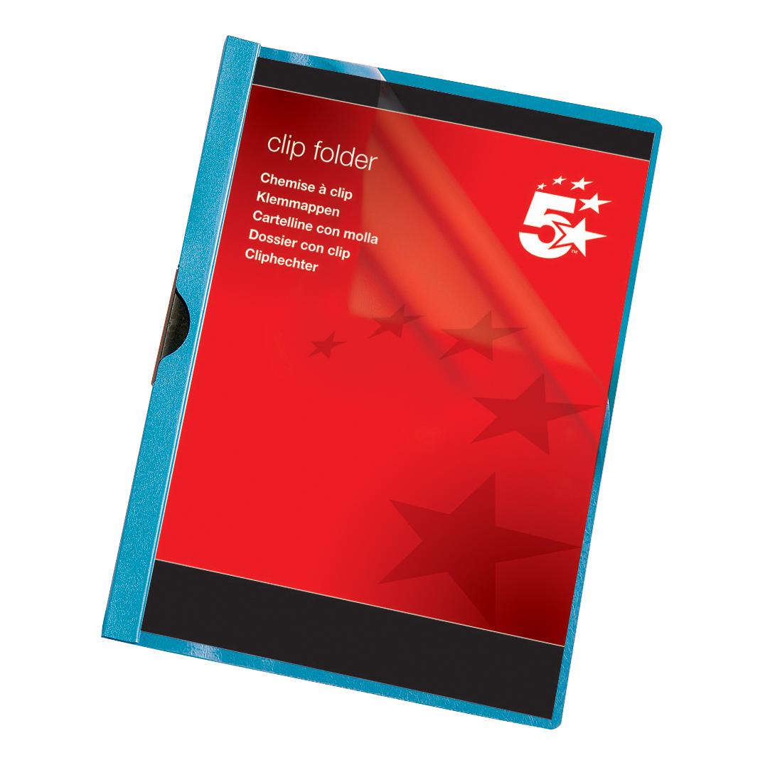 5 Star Office Clip Folder 3mm Spine for 25 Sheets A4 Blue