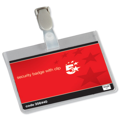 5 Star Name Badges Security Landscape with Plastic Clip 60x90mm [Pack 25]