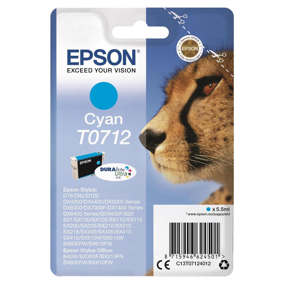 Epson t0711 inkjet cartridge cheetah page life 250pp 7. 4ml black.