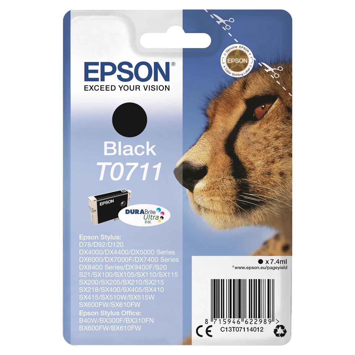 Epson T0711 Inkjet Cartridge Cheetah Page Life 250pp 7.4ml Black Ref C13T07114012