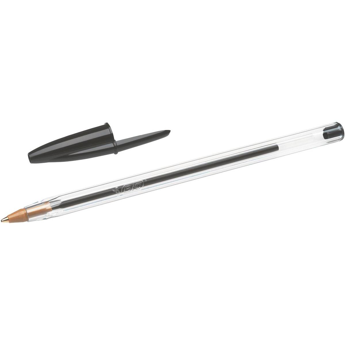 Bic Cristal Ball Pen Clear Barrel 1 0mm Tip 0 32mm Line Black Ref