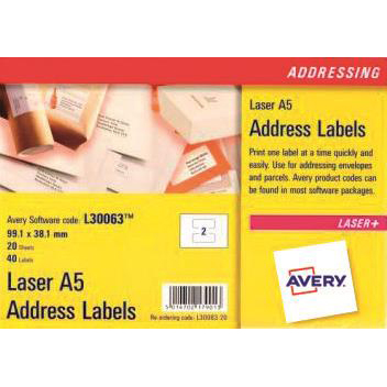 Avery Addressing Labels Laser 2 per A5 Sheet 99.1x38.1mm White Ref L30063-20 [40 Labels]